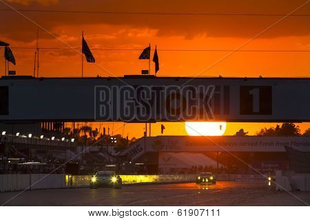 Sebring, FL - Mar 15, 2014:  The Tudor United SportsCar Championship teams take to the track at sunset for the 12 Hours of Sebring at Sebring International Raceway in Sebring, FL.
