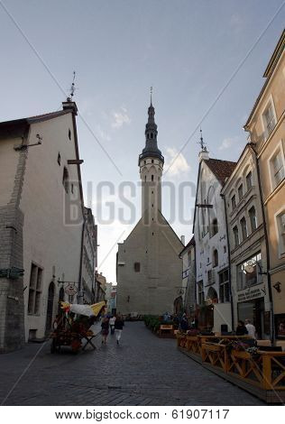 Old Church Silhouette At Evening. Old Town Of Tallinn. Estonia.
