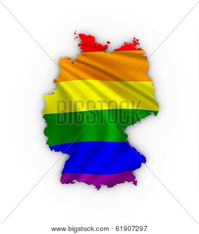 Germany map showing a rainbow flag