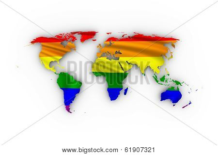 World map showing a rainbow flag