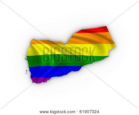 Yemen map showing a rainbow flag