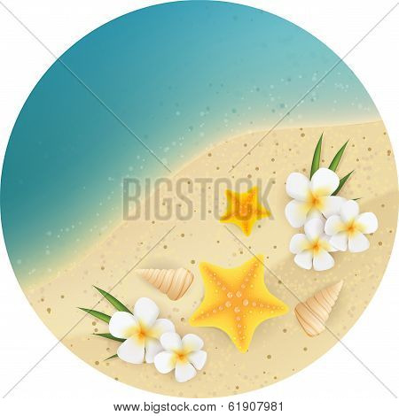 Sand And Sea Round Banner