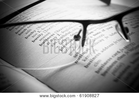 Open Book Dictionary Letters, Close Up