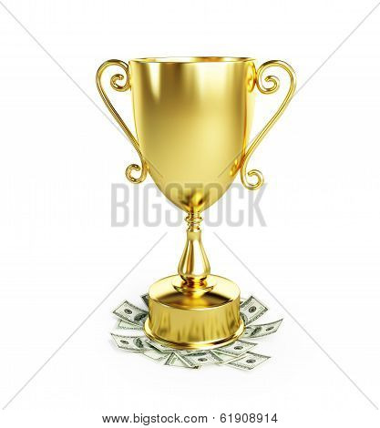 Gold Trophy Cup Dollar On A White Background