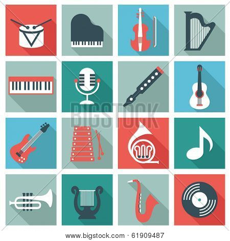 Music instruments - flat design