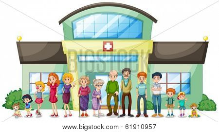Illustration of a big family outside the hospital on a white background