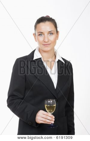 Businesswoman With Glass Of Wine