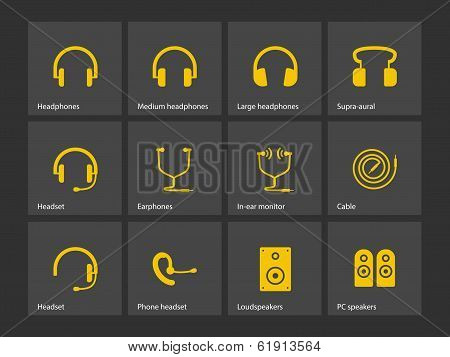 Earphones icons.
