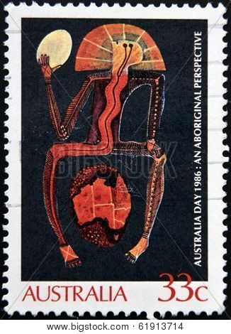 AUSTRALIA - CIRCA 1986 : A stamp printed in Australia shows Aboriginal painting