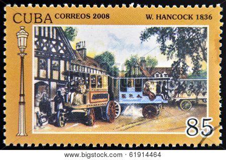 CUBA - CIRCA 2008: A stamp printed in Cuba shows Hancock 1836 vintage cars circa 2008