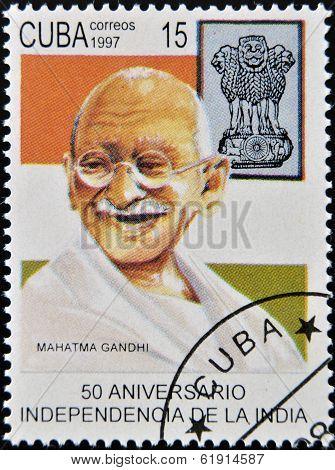 CUBA - CIRCA 1997 : A stamp printed in Cuba shows Mahatma Gandhi