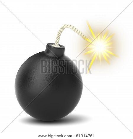 Burning Black Bomb Isolated On White Background