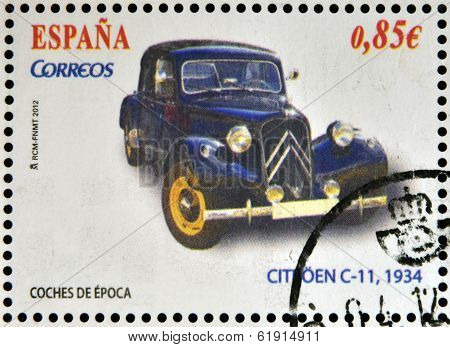 SPAIN - CIRCA 2012: Stamps printed in Spain dedicated to classic car shows citroen c-11 1934