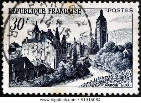 FRANCE - CIRCA 1951: A stamp printed in France shows Chateau Bontemps Arbois circa 1951