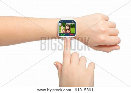 Isolated Female Hands With Smartwatch With Video Call On The Screen