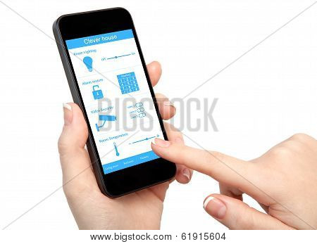 Womans Hands Holding The Phone With System Clever House
