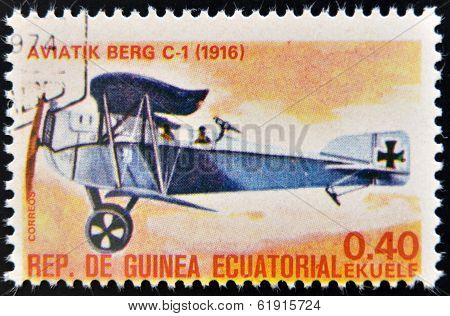 EQUATORIAL GUINEA - CIRCA 1974: A stamp printed in Guinea dedicated to history of aviation
