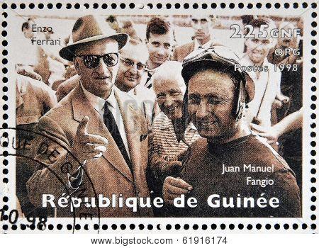 GUINEA - CIRCA 1998: Stamp printed in Guinea dedicated to anniversary of Enzo Ferrari