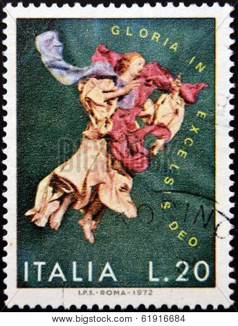 ITALY-CIRCA 1972: stamp printed in Italy shows Angel Gloria in excelsis deo circa 1972
