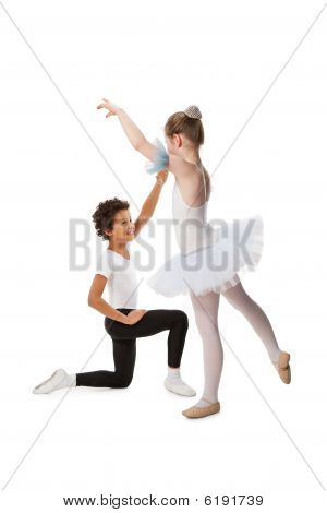 Interracial  Children Dancing Together, Isolated On White Backgr