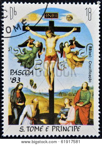 Stamp printed in Sao Tome shows Christ Crucified by Raphael