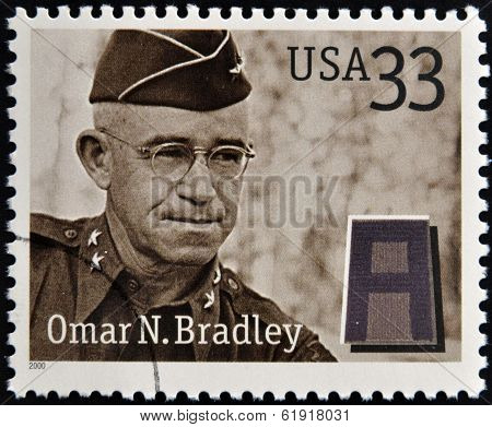 Stamps printed in USA dedicated to Military or Armed Forces shows Omar Nelson Bradley