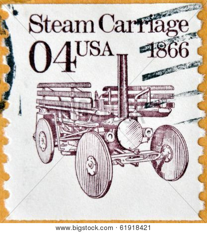 A stamp printed in USA shows Steame Carriage 1866