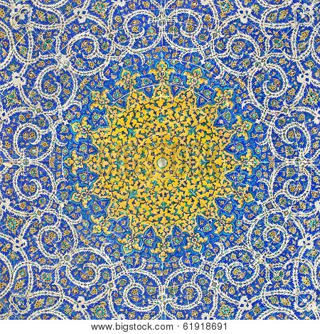 Islamic Persian Motif On Blue Tiles Of A Mosque