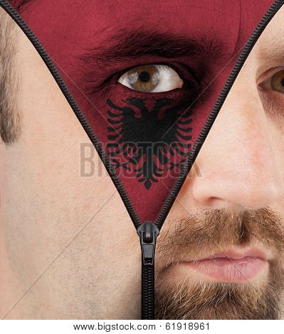 Unzipping Face To Flag Of Albania