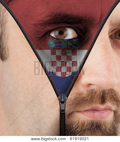 Unzipping Face To Flag Of Croatia