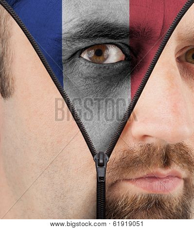 Unzipping Face To Flag Of France