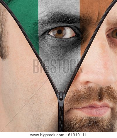 Unzipping Face To Flag Of Ireland