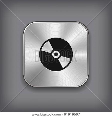 CD or DVD disc icon - vector metal app button