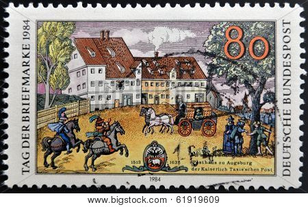 GERMANY - CIRCA 1984: A stamp printed in Germany shows opening of the Schleswig-Holstein Canals 1784