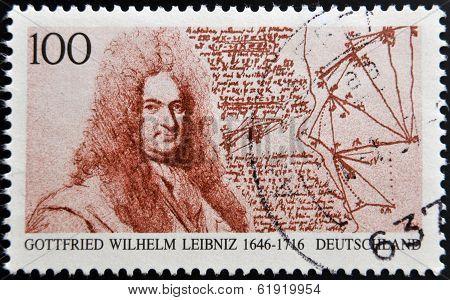 GERMANY - CIRCA 1996: A stamp printed in Germany shows Gottfried Wilhelm Leibniz