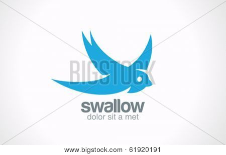 Swallow bird abstract vector logo design template. Creative concept symbol icon.