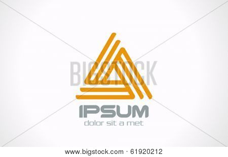 Triangle looped abstract line art vector logo design template. Infinity loop icon Business