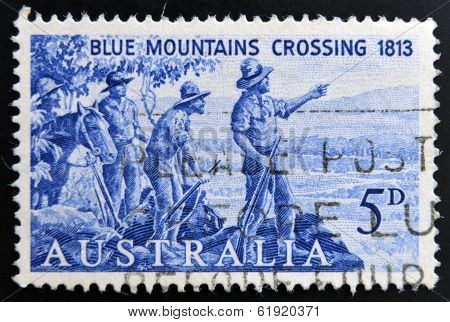 AUSTRALIA - CIRCA 1963: A stamp printed in Australia shows Explorers Blaxland Lawson