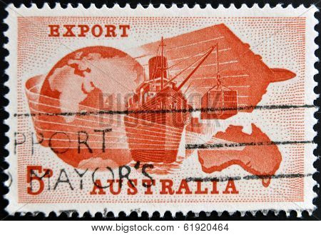 AUSTRALIA - CIRCA 1963: A stamp printed in Australia dedicated to Importance of exports to Australia
