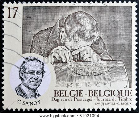 BELGIUM - CIRCA 1997: A stamp printed in Belgium shows Spinoy Constantin (1924-93) - graver