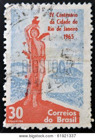 BRAZIL - CIRCA 1965: Stamp printed in Brazil dedicated to IV Centenary of the City of Rio de Janeiro
