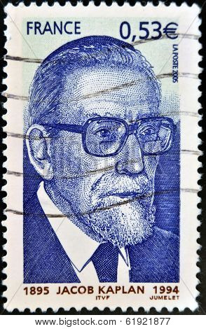 FRANCE - CIRCA 1994: A stamp printed in France shows Jacob Kaplan circa 1994