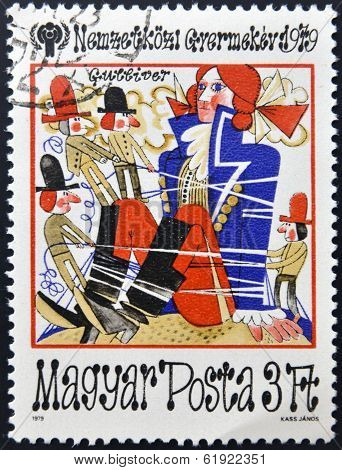 HUNGARY - CIRCA 1979: A stamp printed in Hungary shows a fairy tale scene with Gulliver