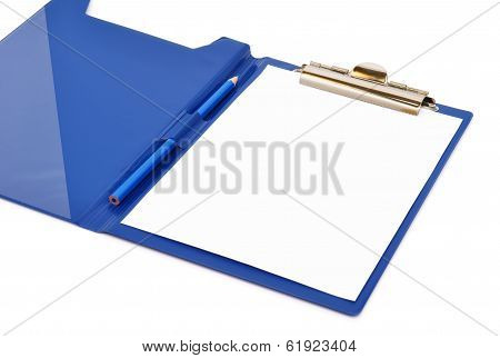Blue Folder With White Sheet And Pencil On It