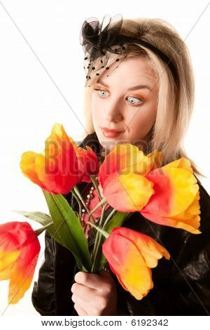 Pretty Woman With Plastic Flowers