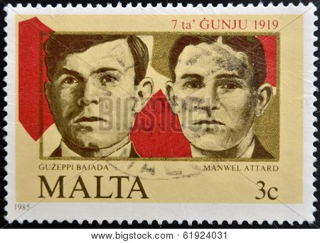 MALTA - CIRCA 1985: A stamp printed in Malta shows Guzeppi Bajada and Manwell Attard circa 1985