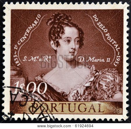 PORTUGAL - CIRCA 1953: A stamp printed in Portugal shows queen Maria II of Portugal circa 1953