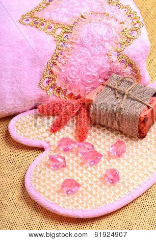 Pink Bath Towel, Natural Soap, Body Scrubber