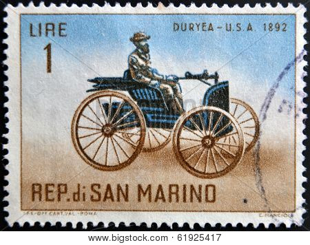 SAN MARINO - CIRCA 1962: A stamp printed in San Marino shows Old auto