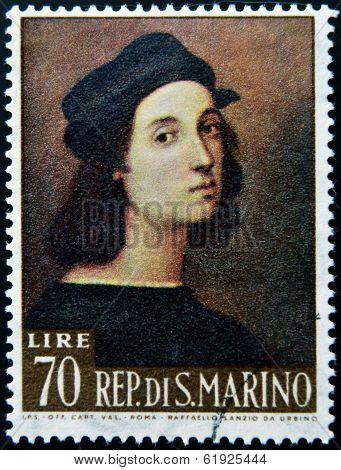 SAN MARINO - CIRCA 1974: A stamp printed in San Marino shows image of Raphael famous italian painter